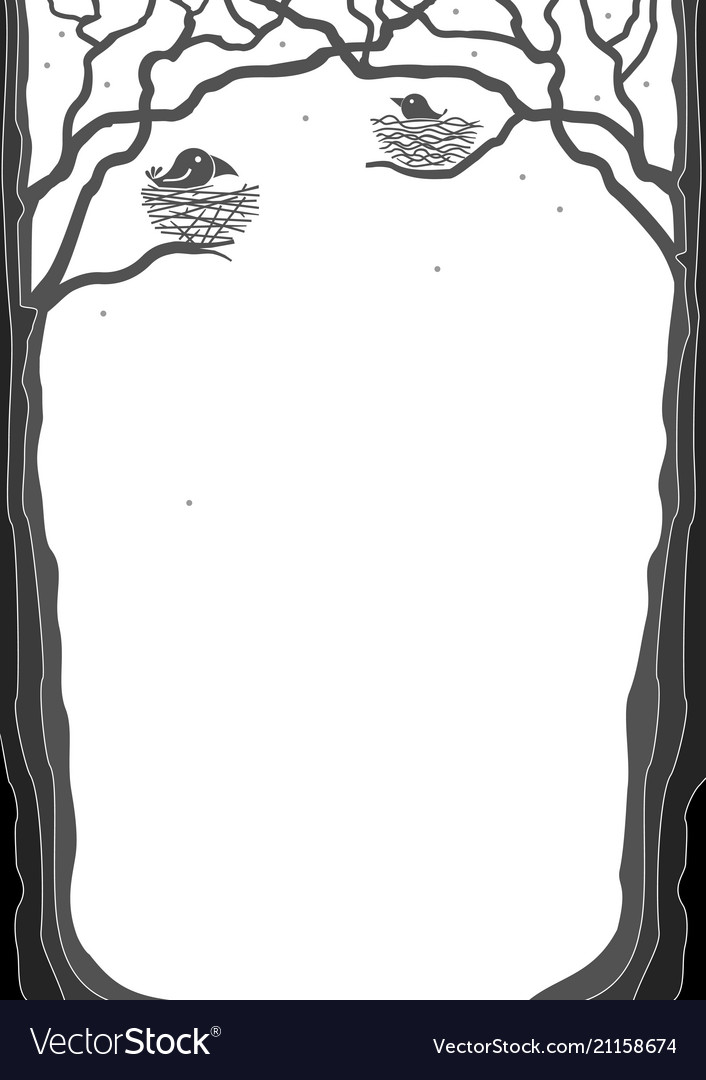 Portrait frame with tree silhouettes