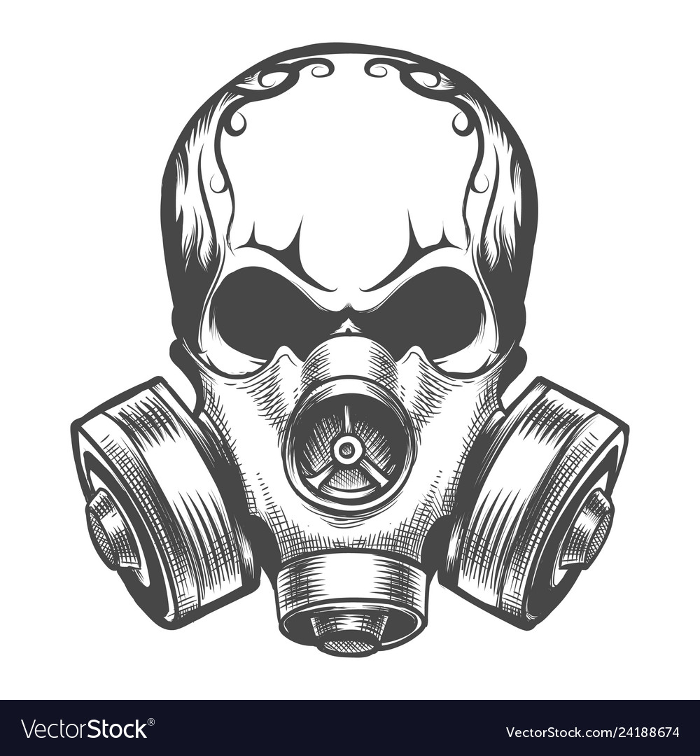 Skull in a gas mask