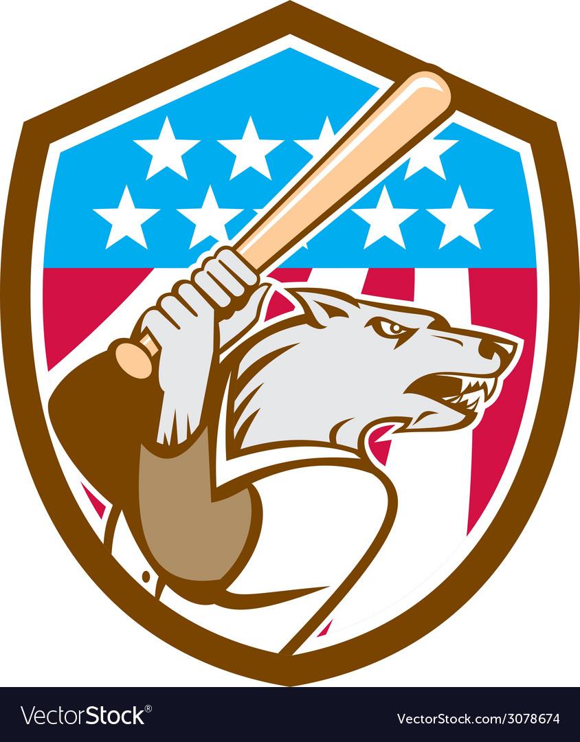 Wolf Baseball With Bat USA Stars Shield Retro