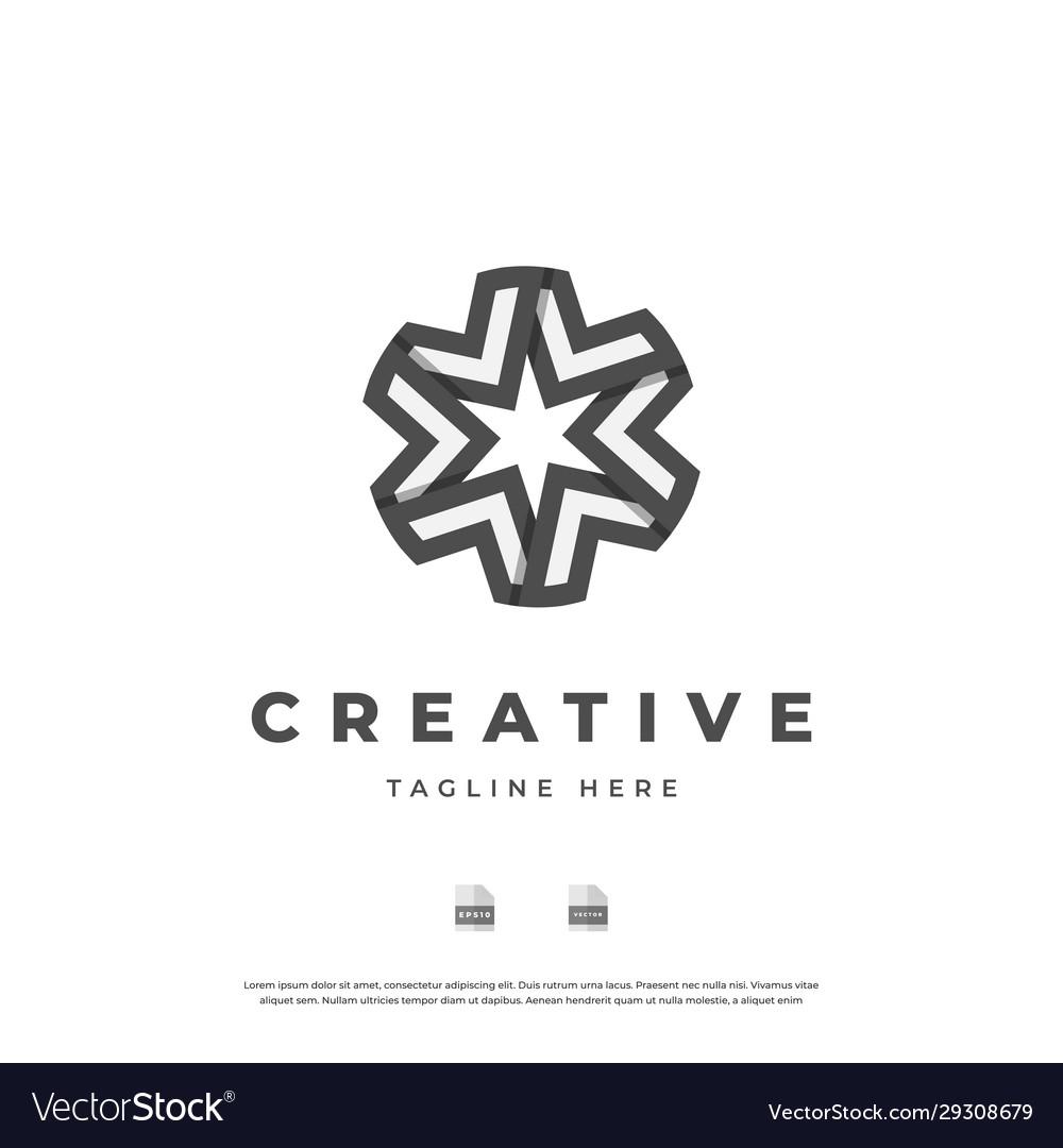 Abstract Star Monogram Logo Design Eps10 Vector Image