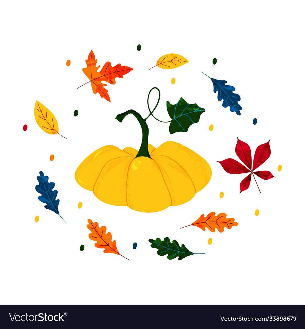 Autumn sale hand drawn pumpkin and leaves flat