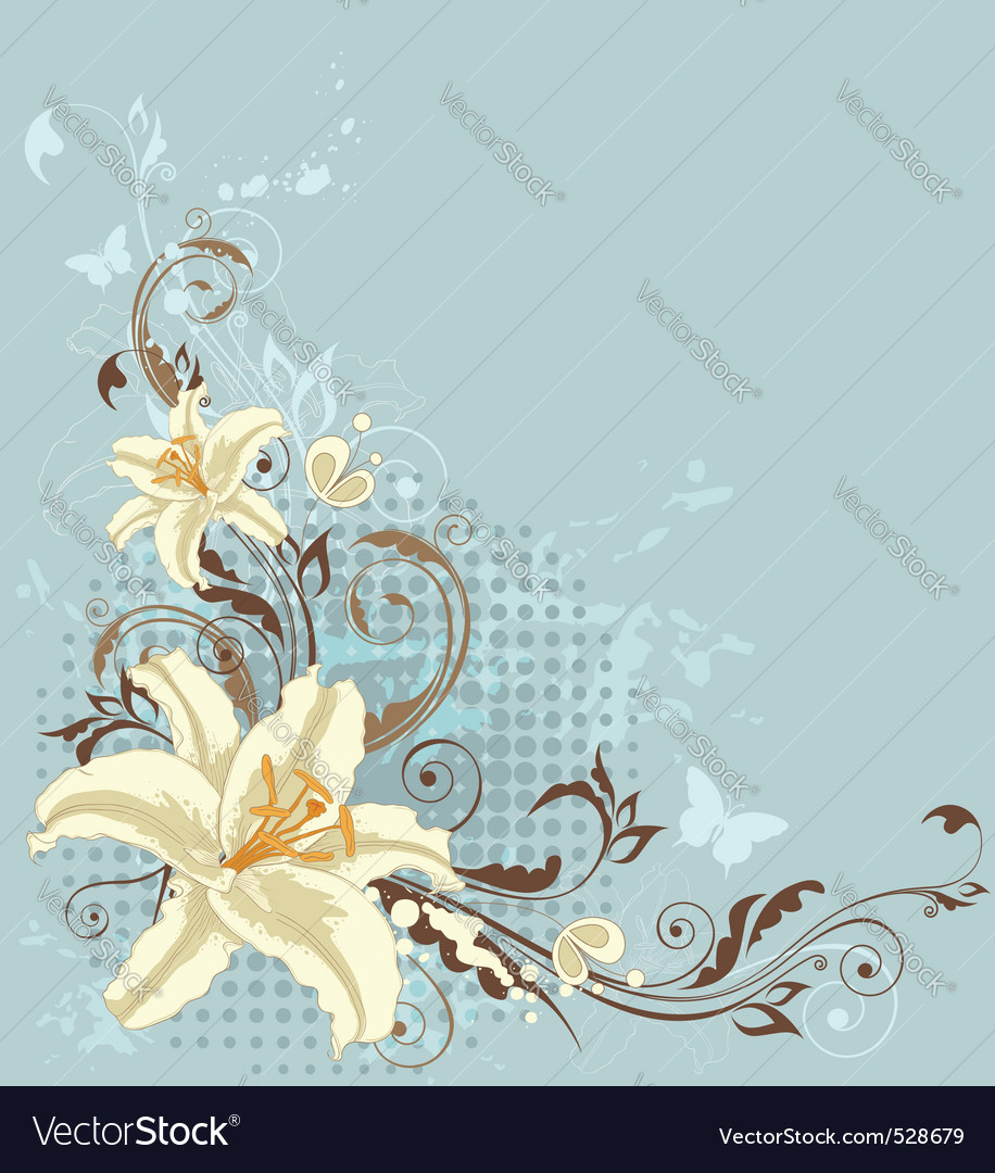 Blue Floral Background With Lily Vector Image