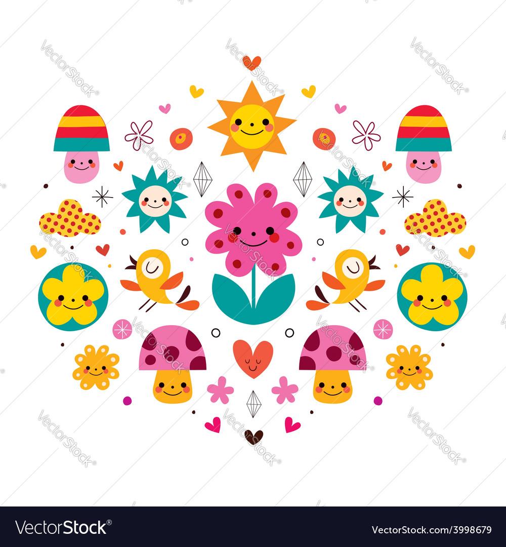 Cute Cartoon Mushrooms Flowers Hearts Birds Vector Image