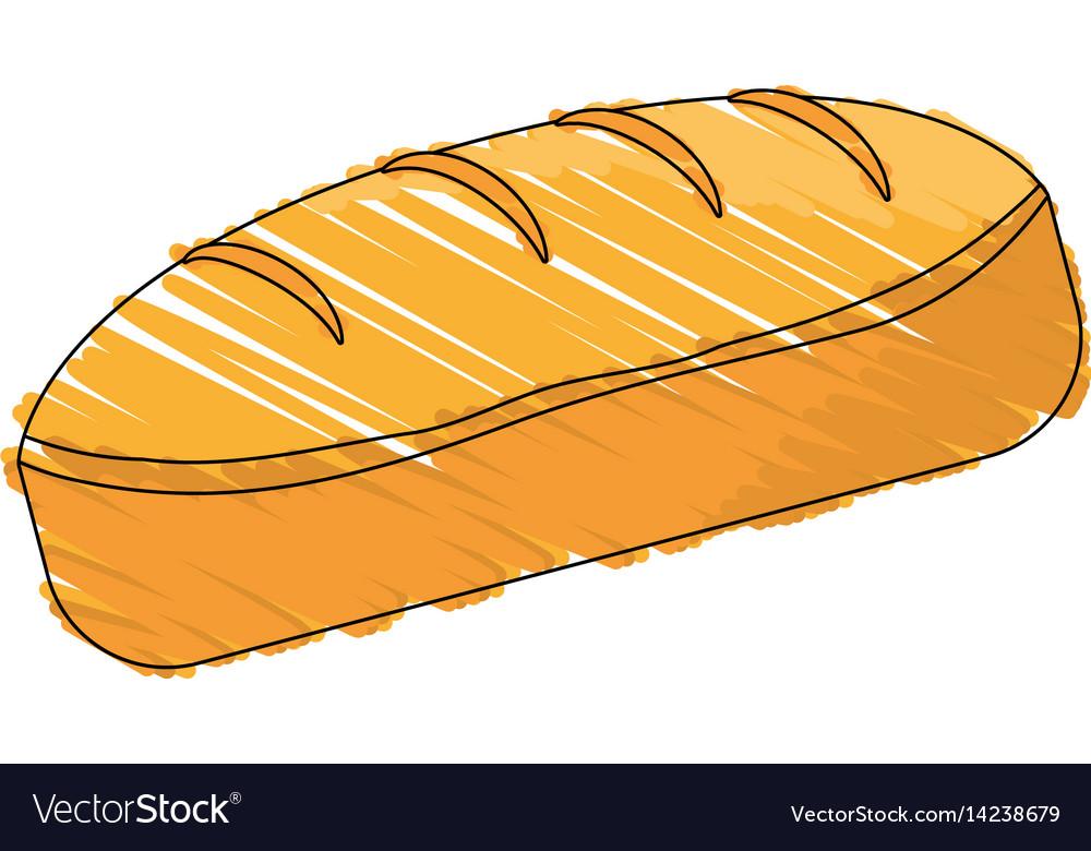 Drawing bread dessert food shadow vector image