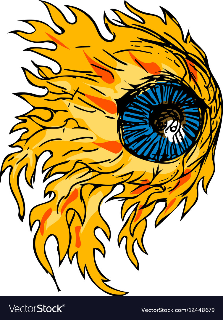 Flaming Eyeball On Fire Drawing vector image
