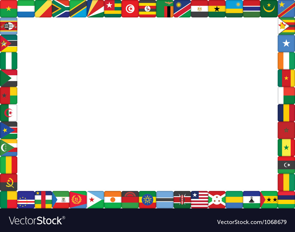 frame made of african countries flags royalty free vector