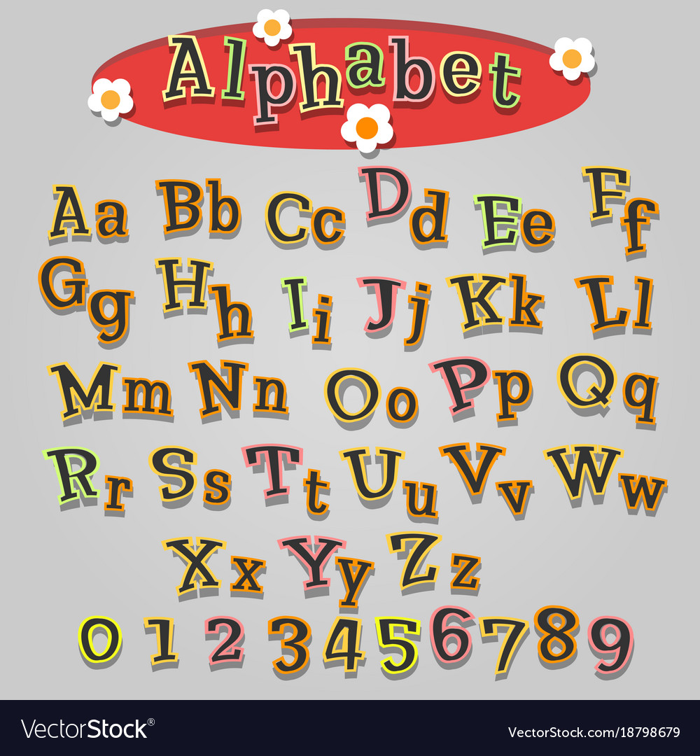 Hand drawn cartoon alphabet