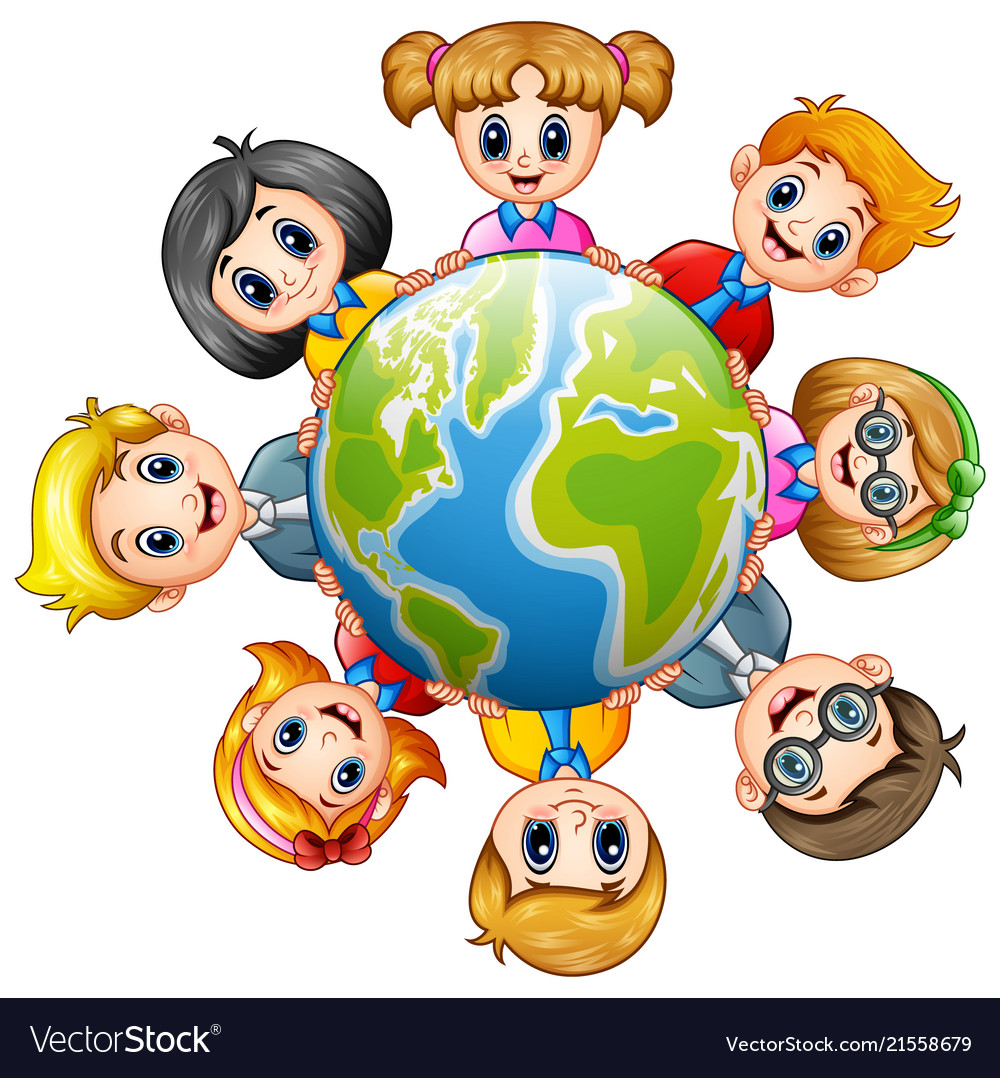 Happy kids around the earth
