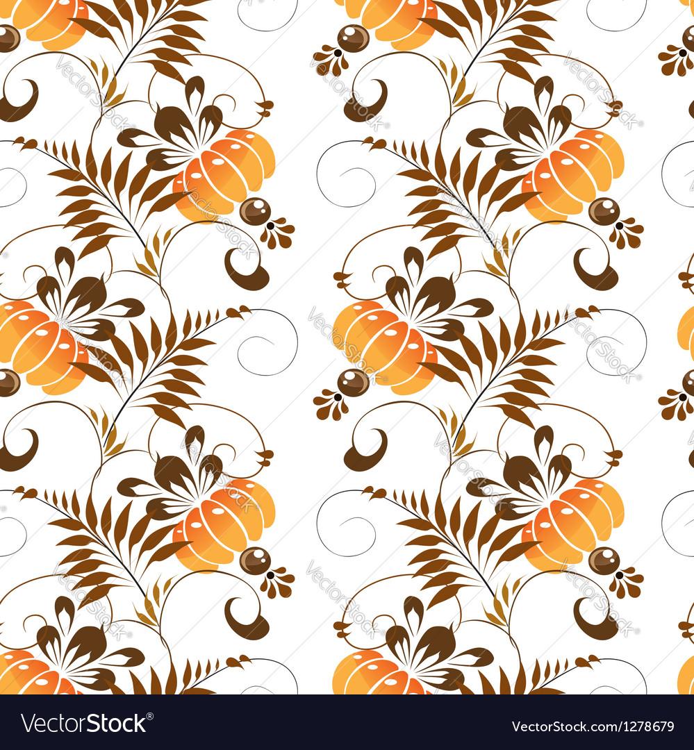 Pattern stylized painting orange flowers