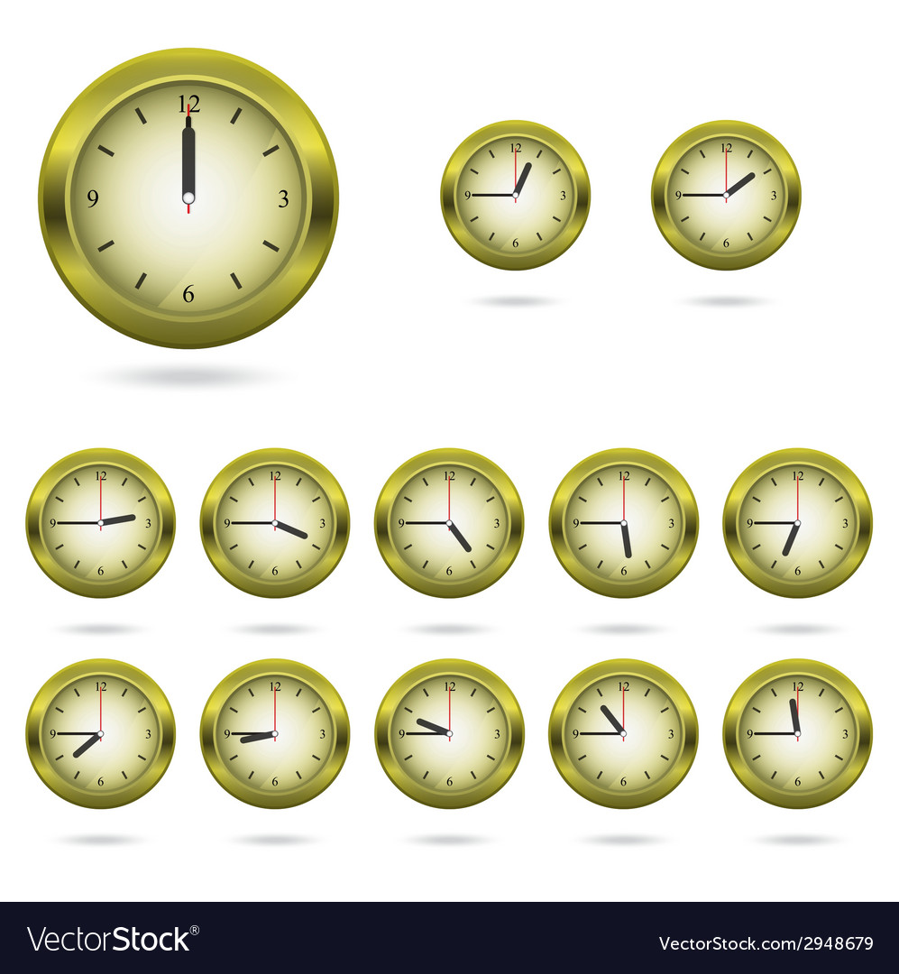 Set of colorful clock icon vector image