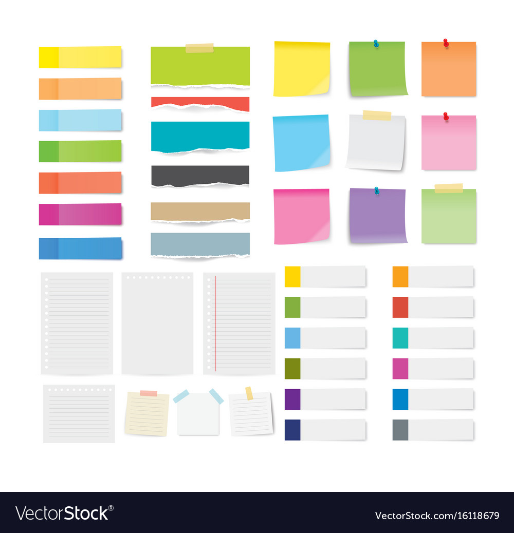 Set of sticky note and torn paper sheets isolated