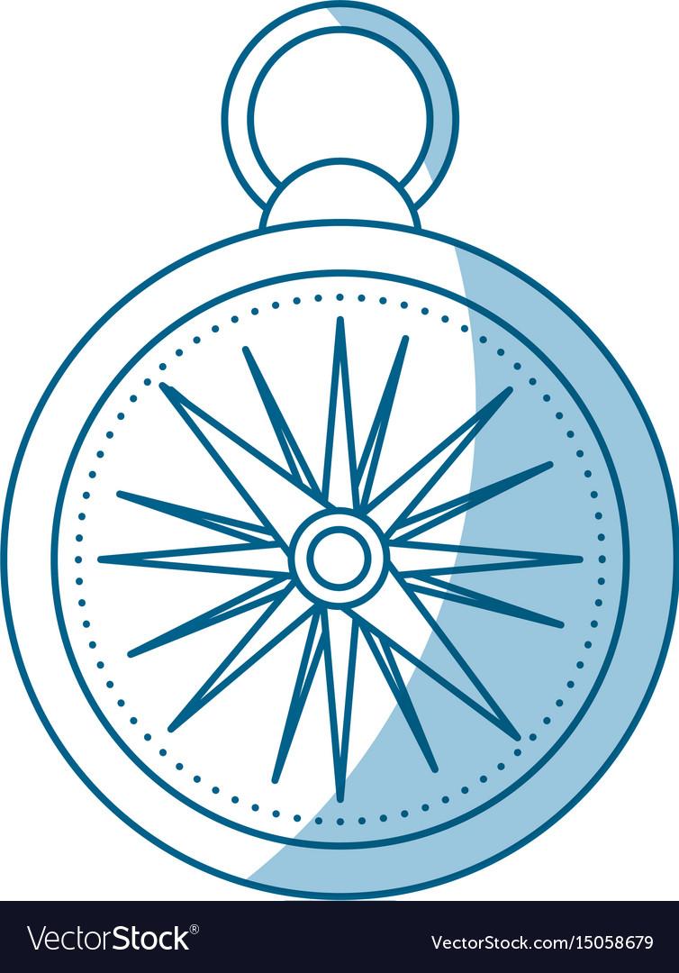 Shadow compass cartoon vector image