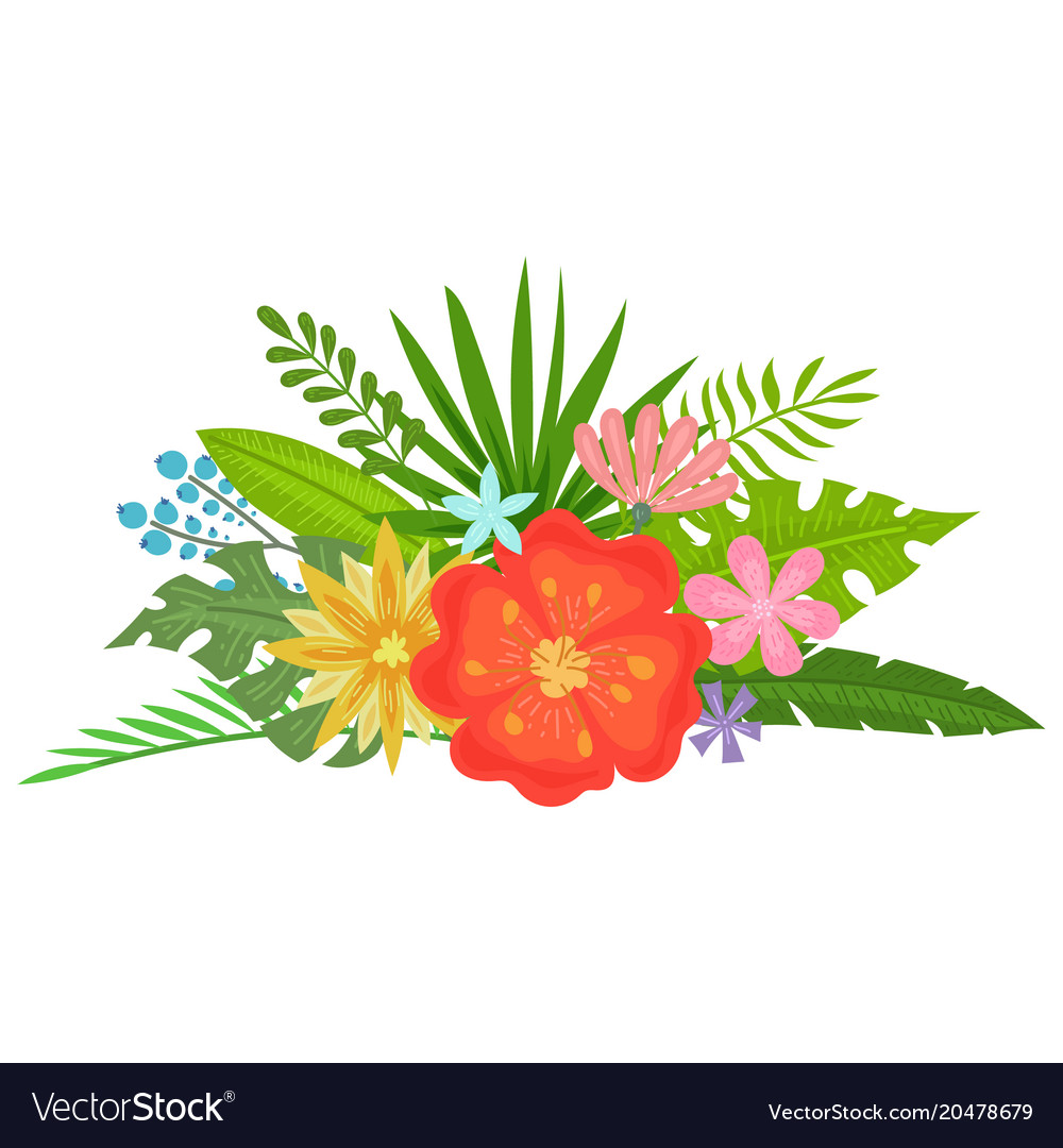 Tropical flowers bouquet Royalty Free Vector Image