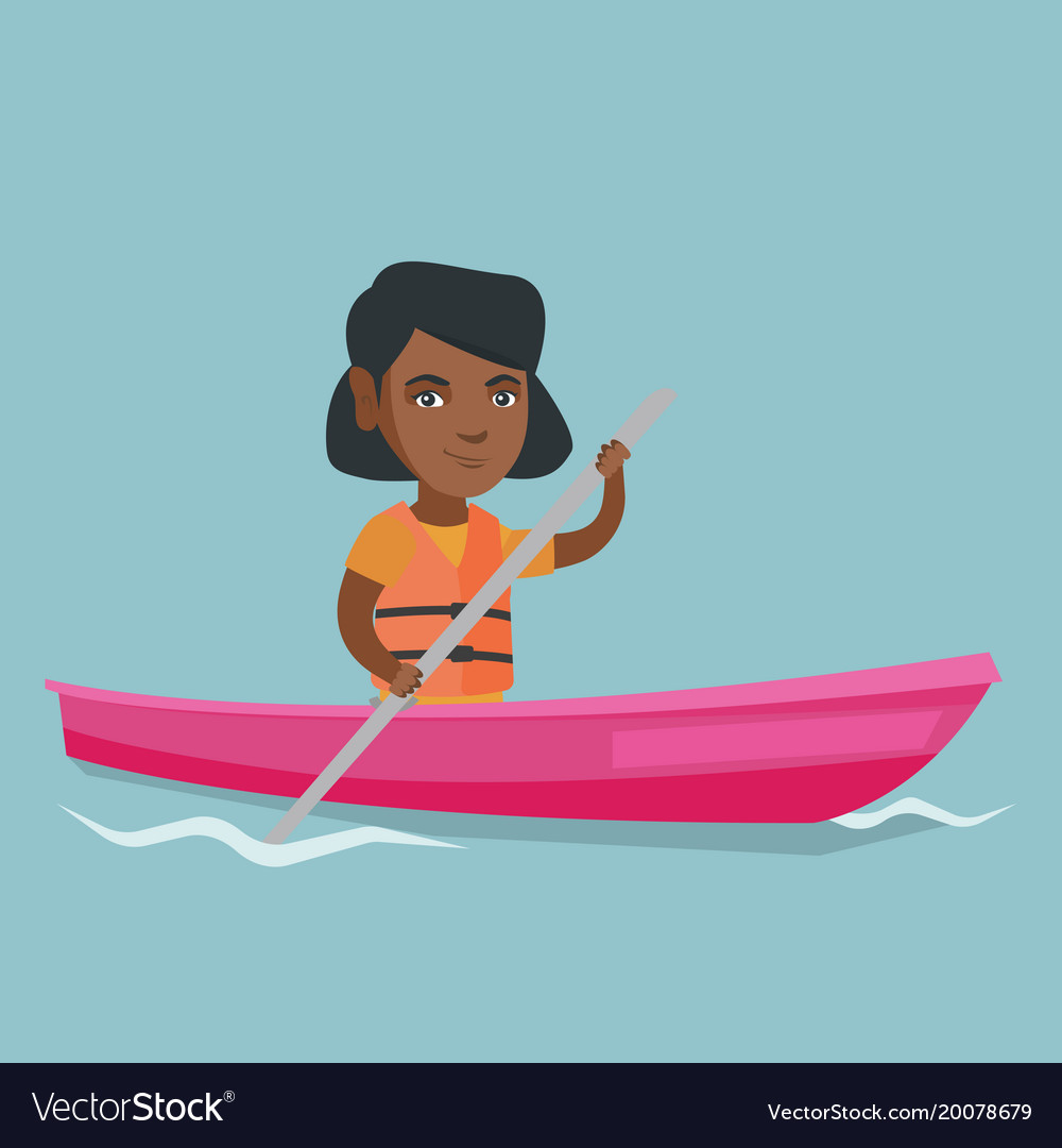 young african american woman travelling by kayak vector image