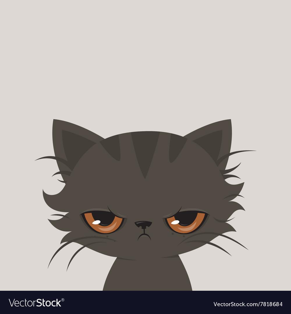 angry cat cartoon cute grumpy cat royalty free vector image rh vectorstock com funny angry cat cartoon angry cat cartoon images