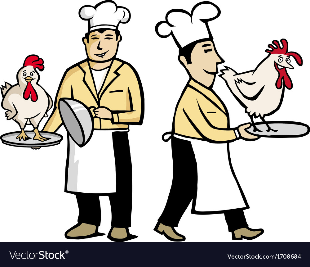 Chef with chiken vector image