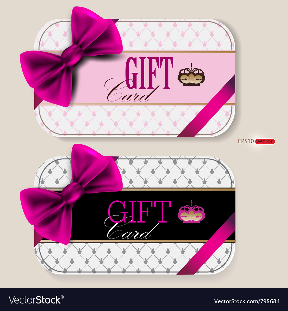 Collection of gift cards with ribbons background vector image