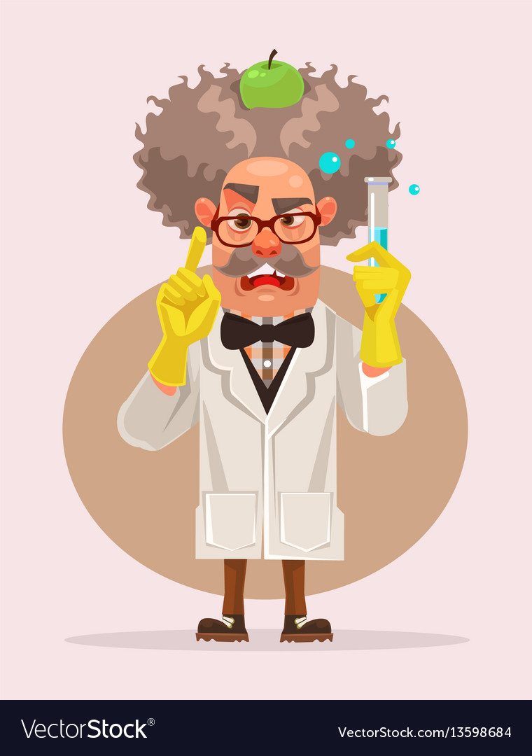 Crazy scientist man character holding flask