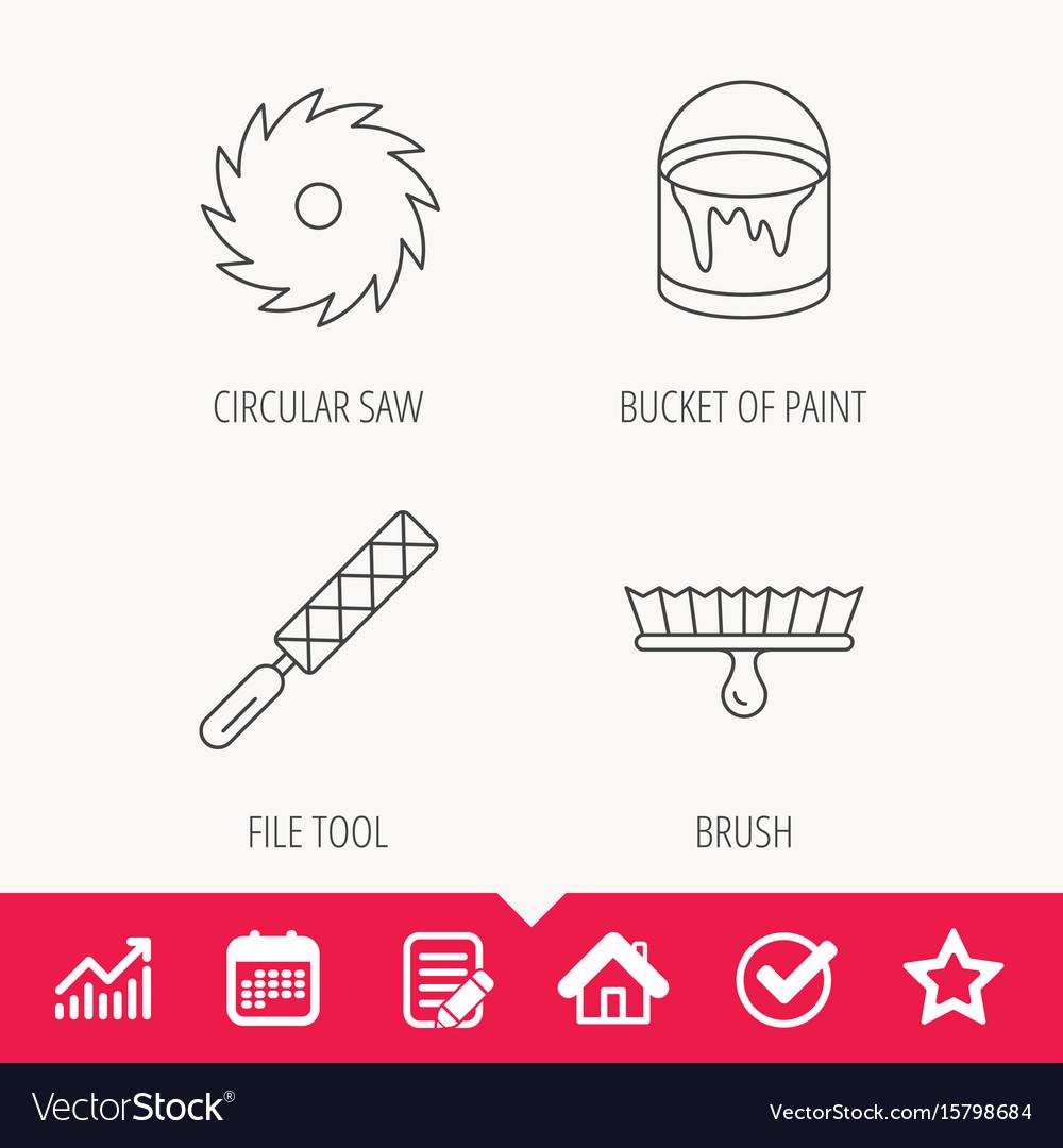 File tool circular saw and brush tool icons