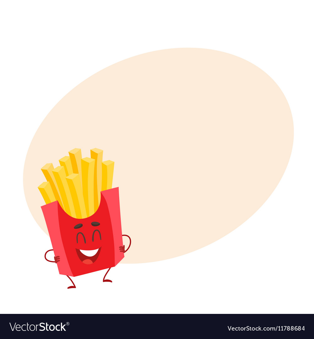 Funny french fries fast food kids menu character