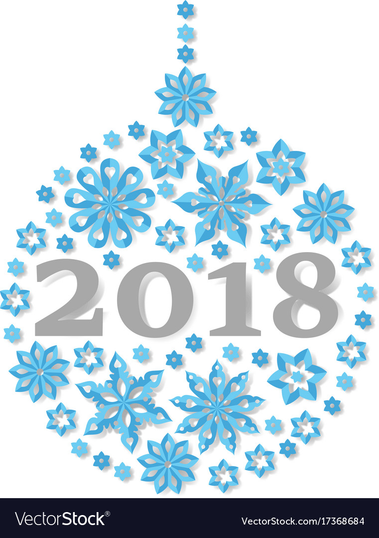 Happy new year 2018 snowflake christmas ball