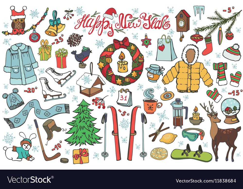 New year season doodle iconssymbolsColored kit