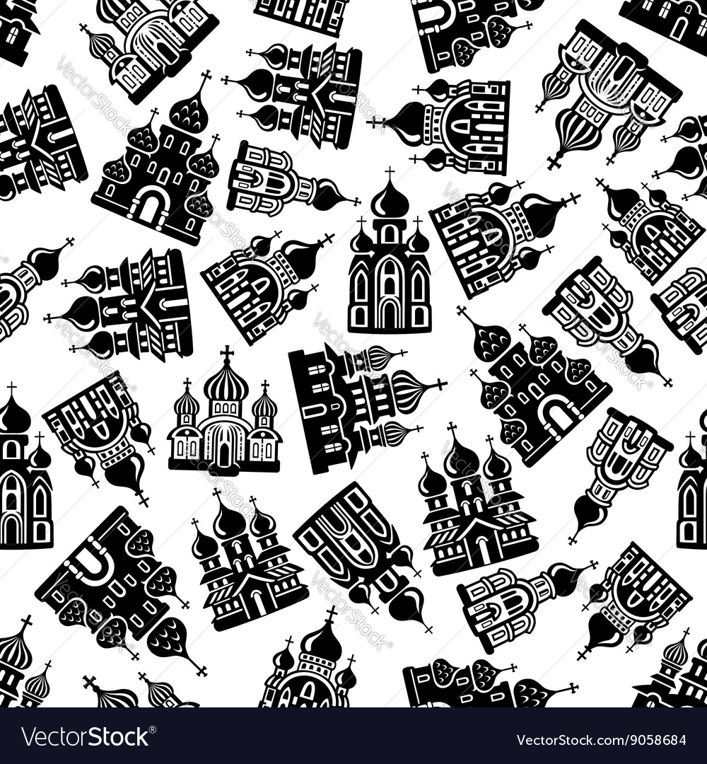 Seamless churches temples cathedrals pattern