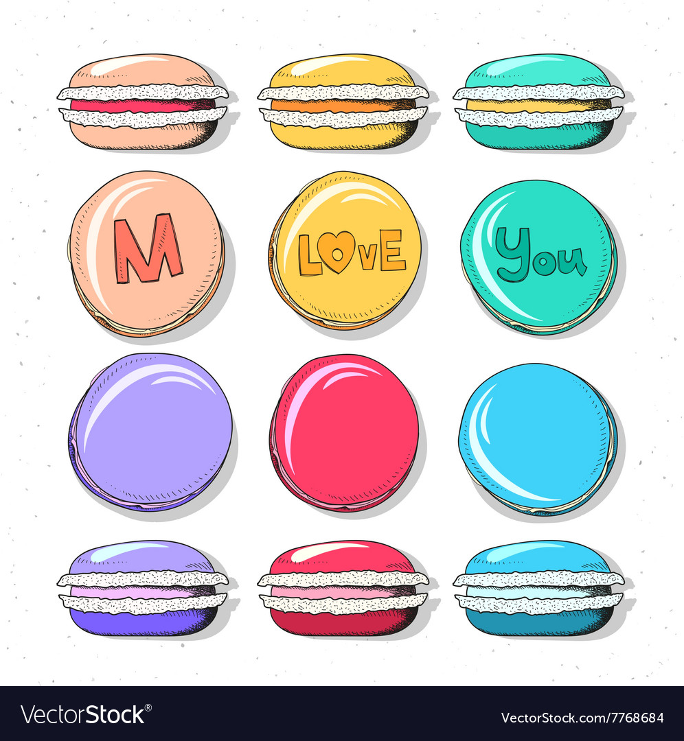Set realistic sketch macaroon Sweets handmade for