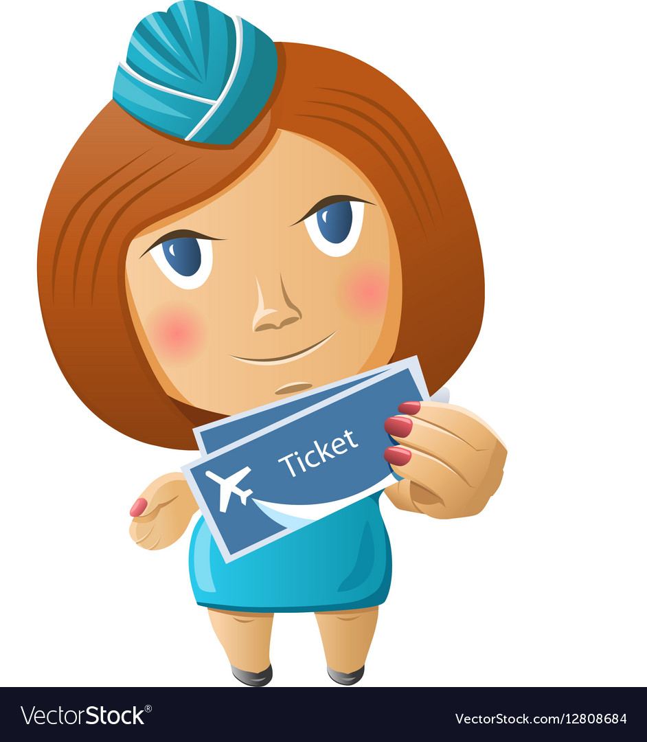 Stewardess with plane tickets