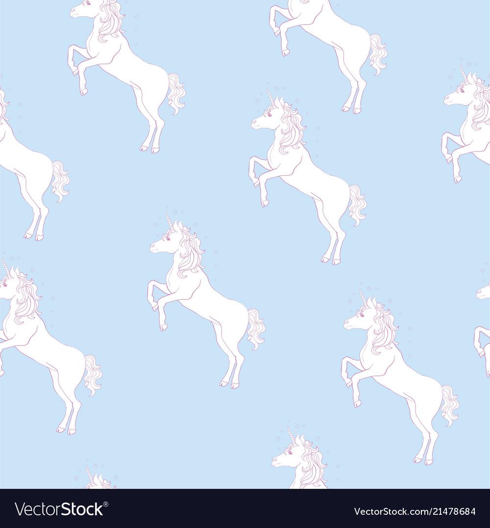 Unicorn seamless pattern unicorns with rainbow