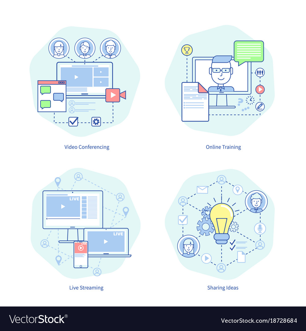 Video conferencing training vector image