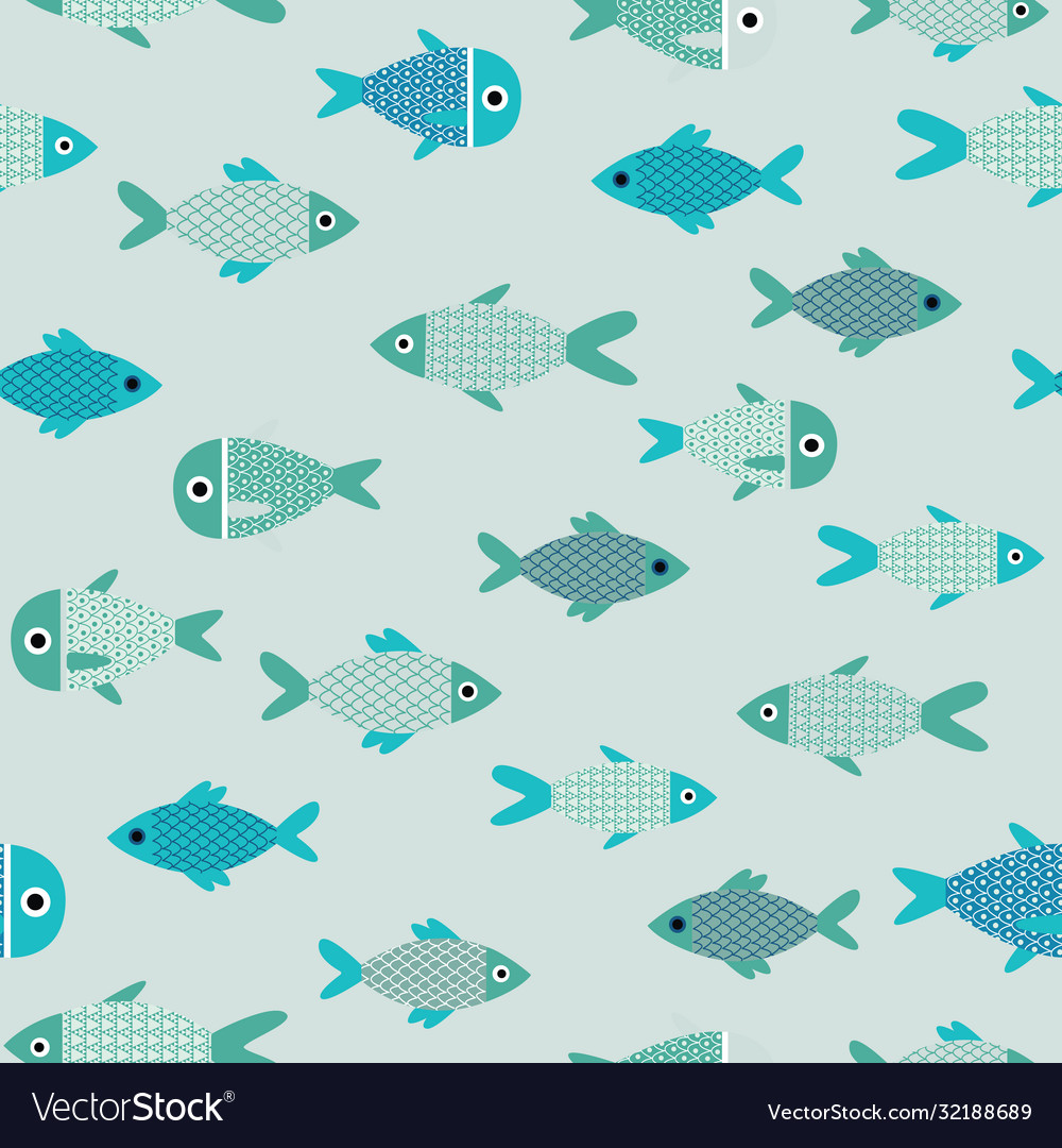 Aqua abstract fish catoon seamless pattern