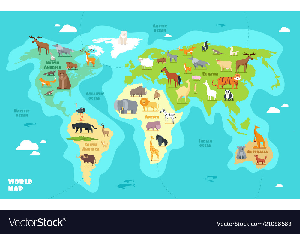 Cartoon World Map With Animals Oceans And Vector Image