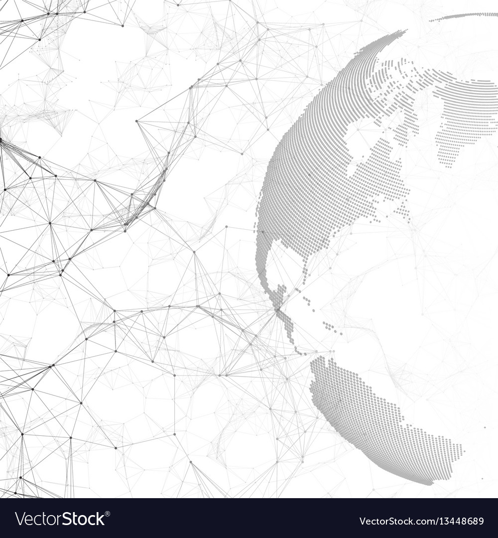 Dotted world globe connecting lines and dots