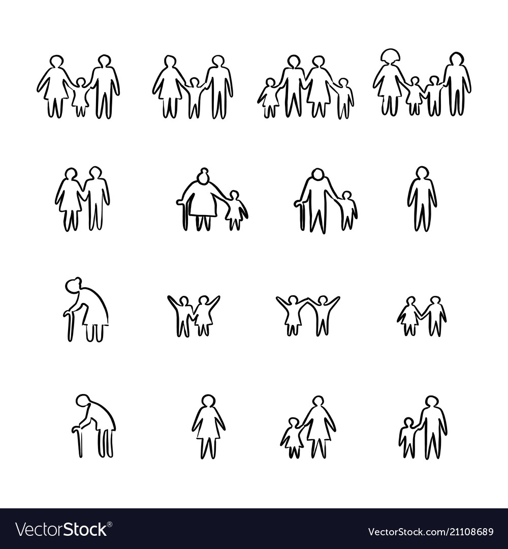 Family icon set sketch doodle hand vector image