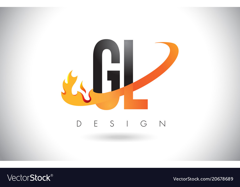 Gl G L Letter Logo With Fire Flames Design And Vector Image