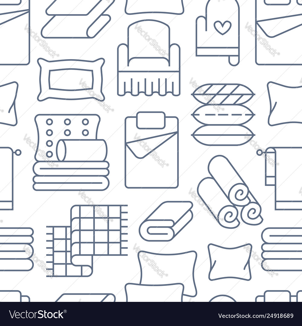 Home textiles seamless pattern with flat line