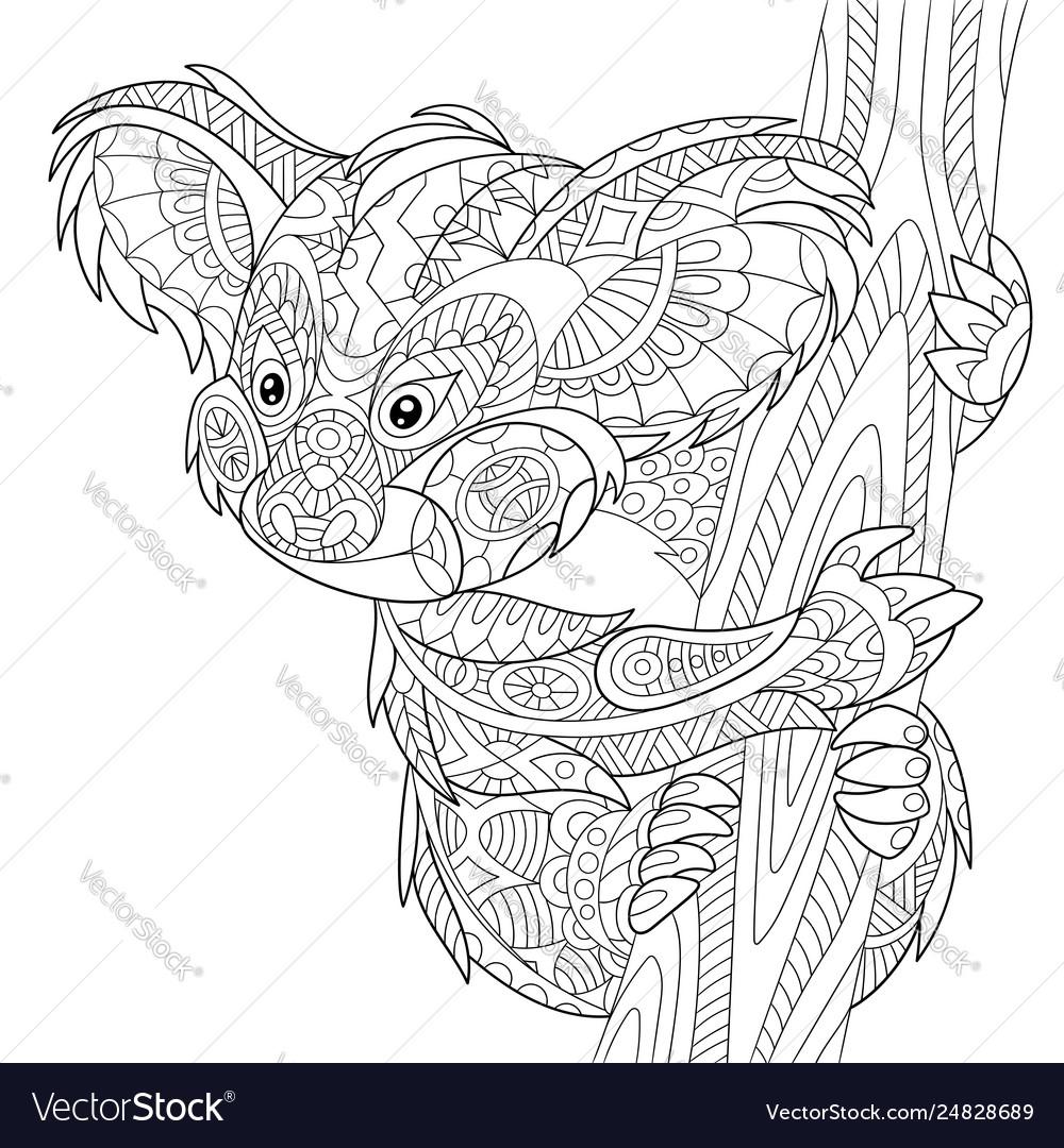 Koala Bear Adult Coloring Page Royalty Free Vector Image