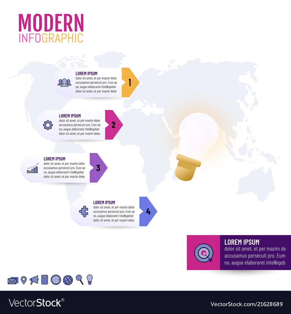 Light bulb infographic template for business idea