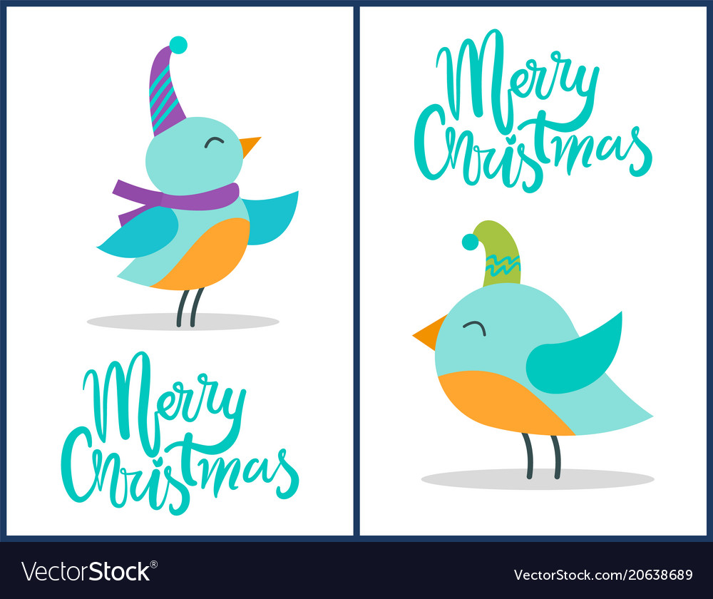 Merry christmas greeting cards tiny birds posters Vector Image