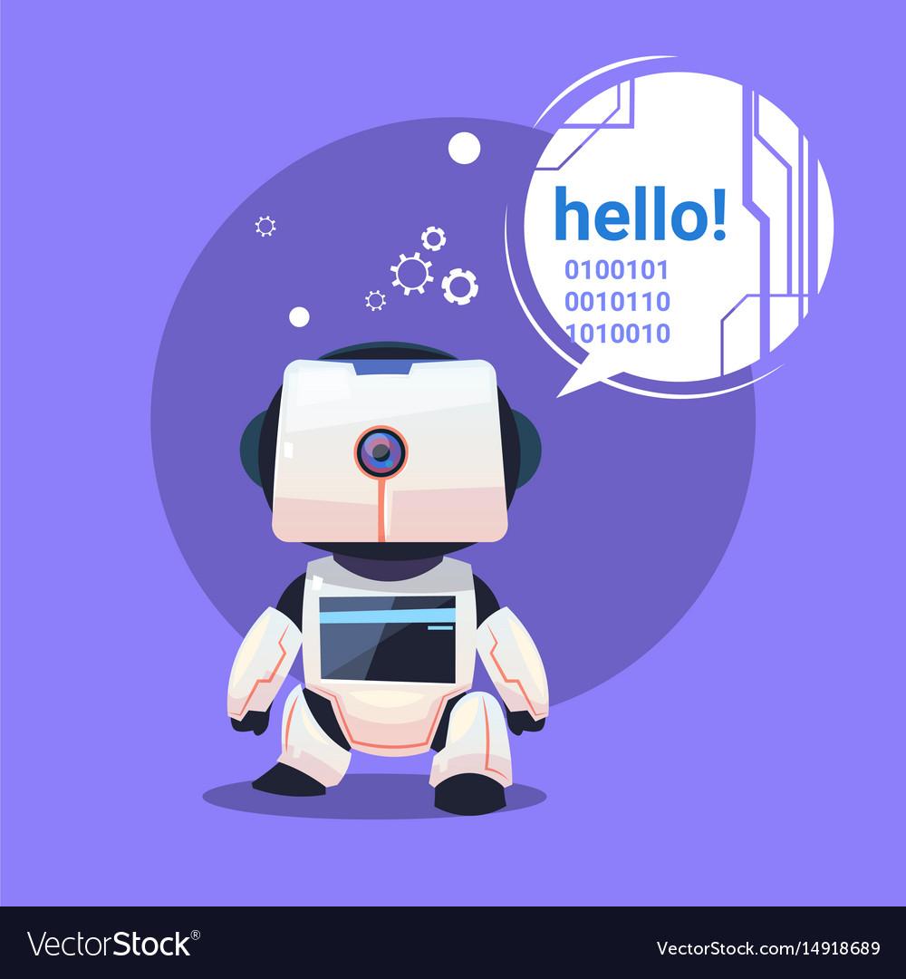 Modern robot says hello futuristic artificial