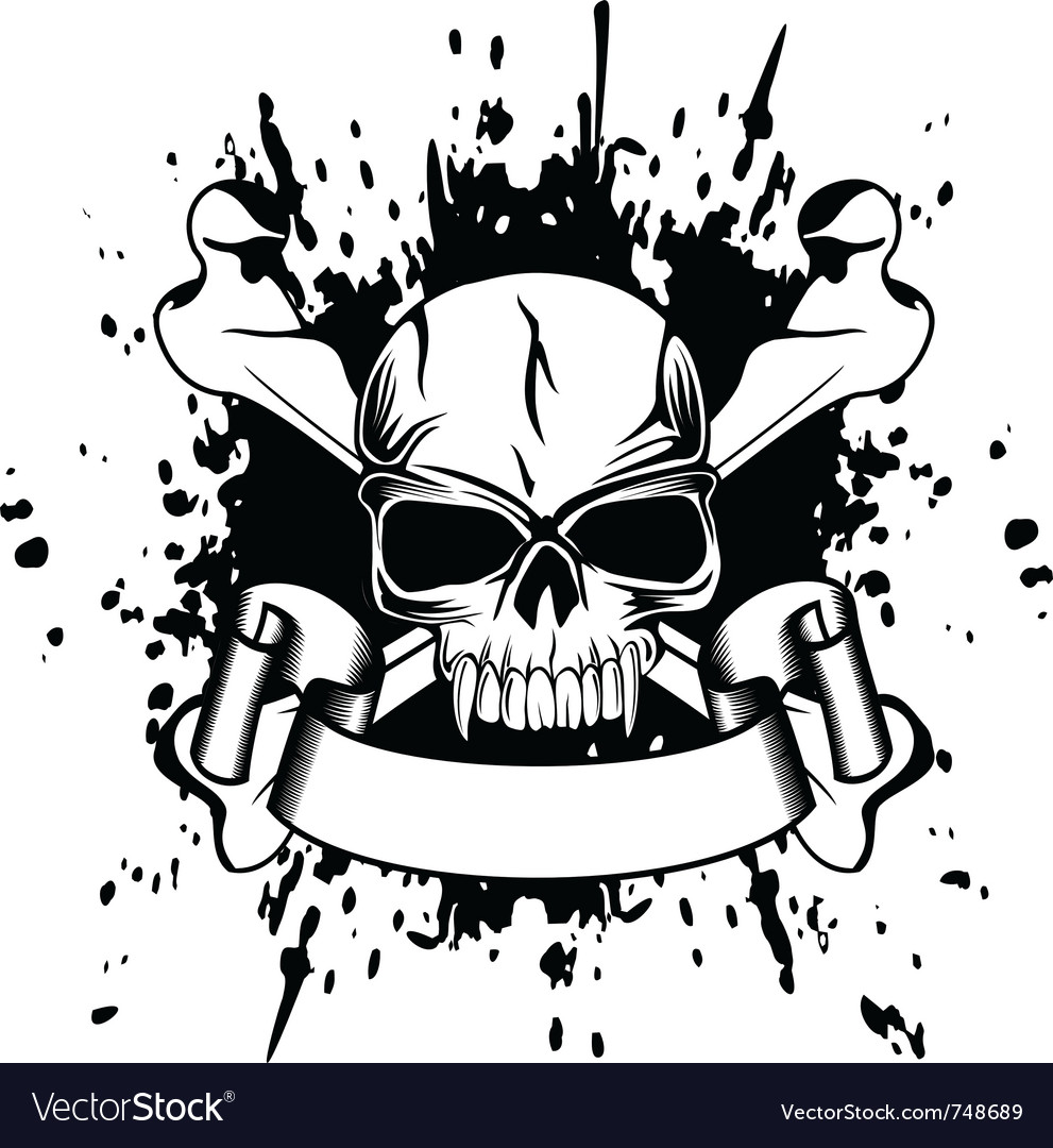 Skull and crossed bones vector image
