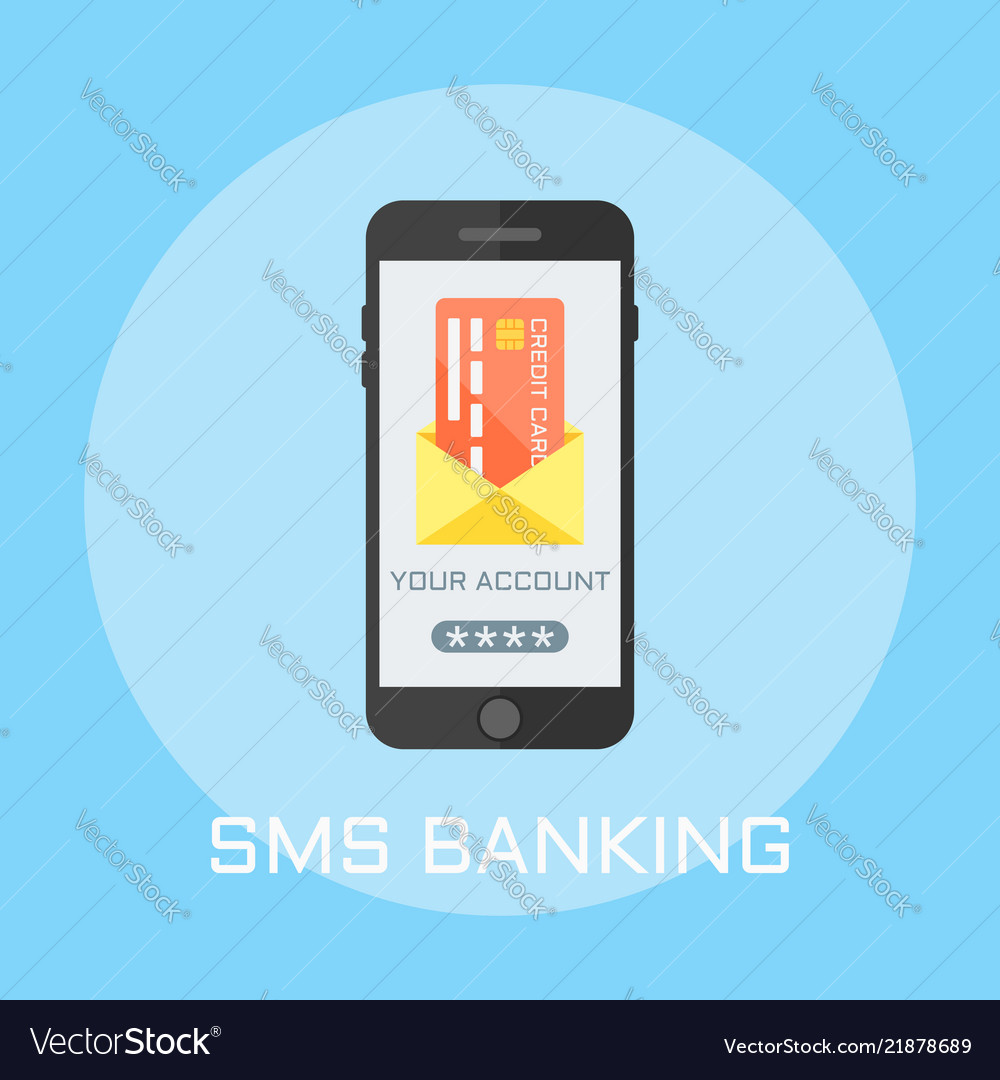 Sms banking flat design style