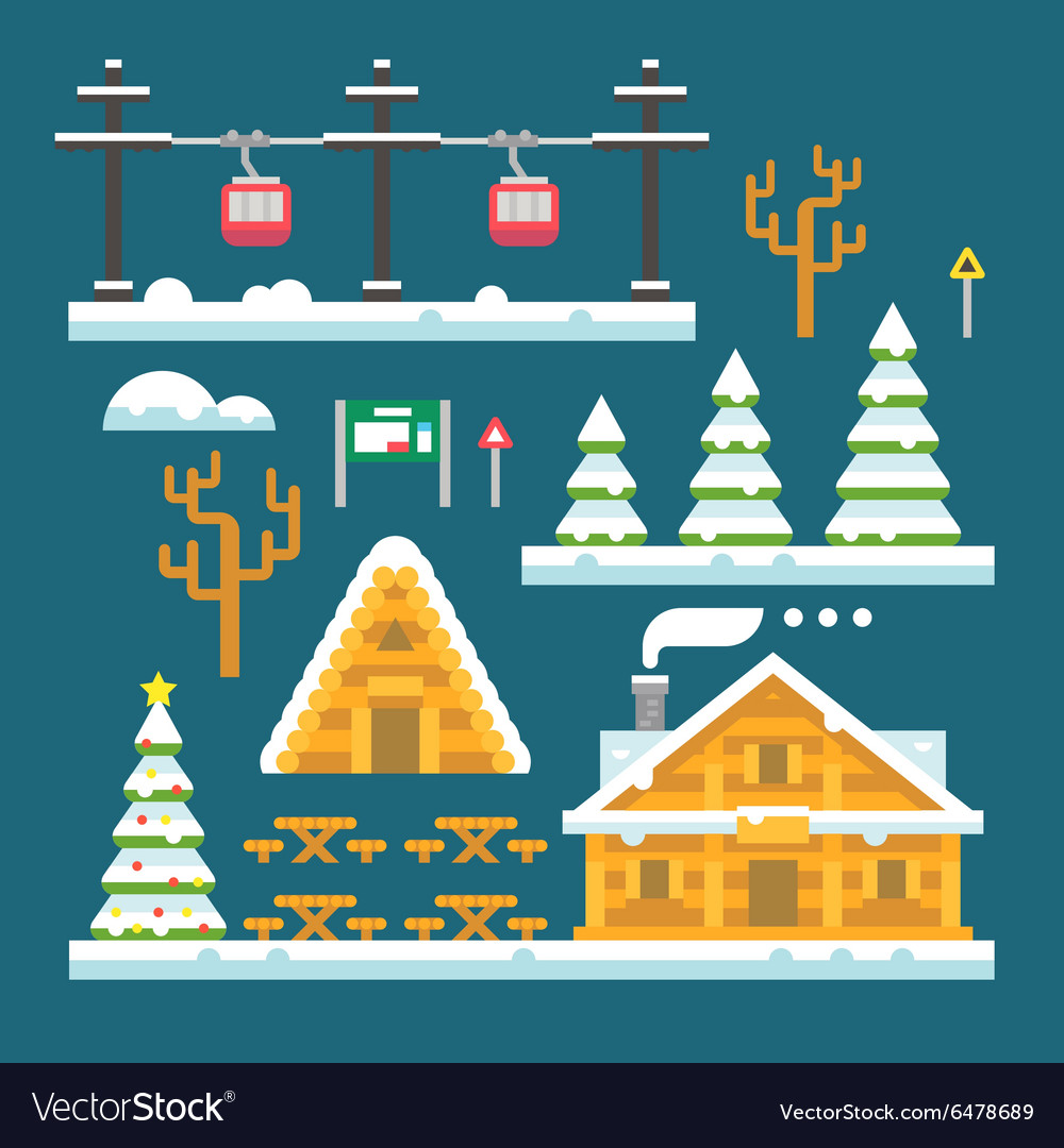 Winter ski resort flat design