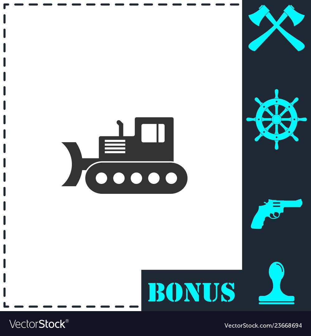 Bulldozer icon flat