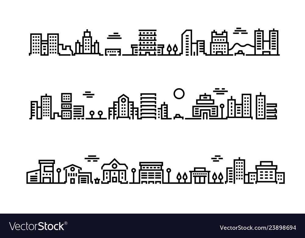 City outline landscape cityscape with business