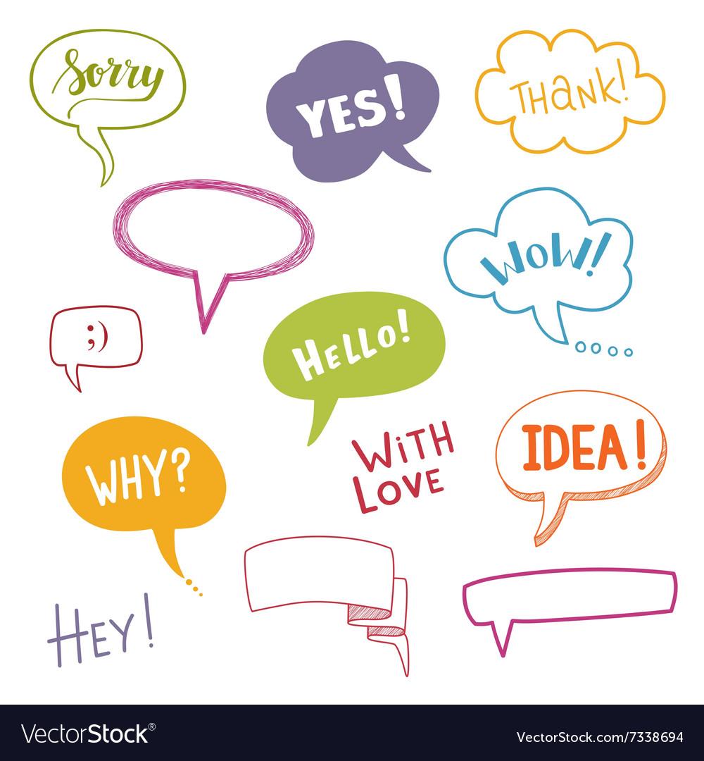 Color speech bubbles set with short messages