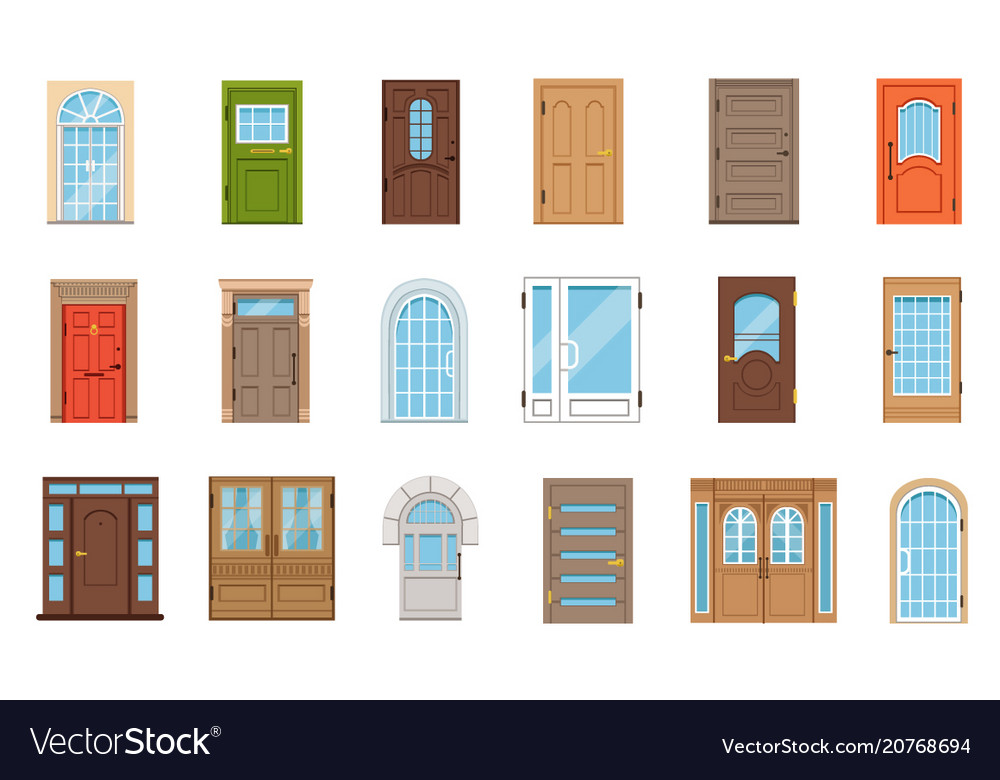 Colorful front doors collection of vintage and
