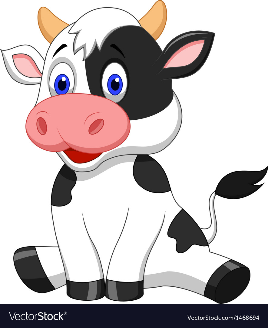cute cow cartoon sitting royalty free vector image rh vectorstock com cow cartoon images download cow cartoon images download