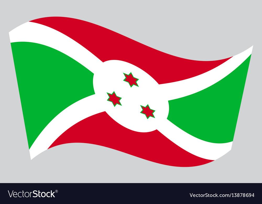 Flag of burundi waving on gray background